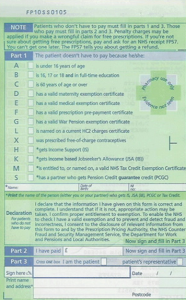 Back of FP10 prescription with listed exemptions